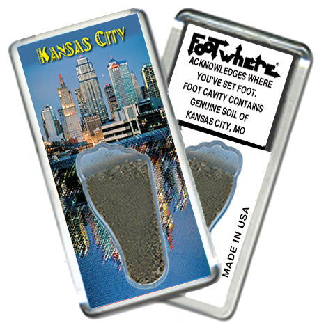 Kansas City FootWhere® Souvenir Fridge Magnet. Made in USA - FootWhere® Souvenirs