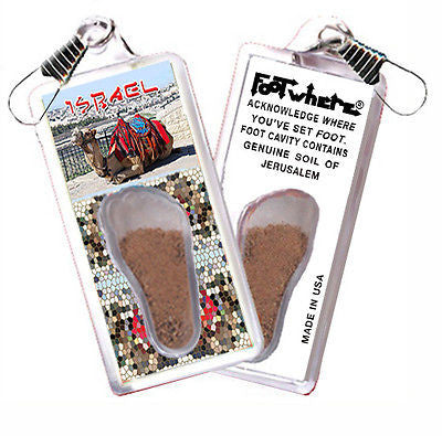Jerusalem FootWhere® Souvenir Zipper-Pull. Made in USA