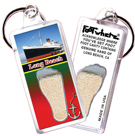 Long Beach FootWhere® Souvenir Key Chain. Made in USA - FootWhere® Souvenirs
