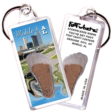 Mobile, AL FootWhere® Souvenir Key Chain. Made in USA - FootWhere® Souvenirs