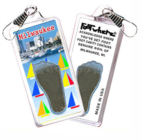 Milwaukee FootWhere® Souvenir Zipper-Pull. Made in USA