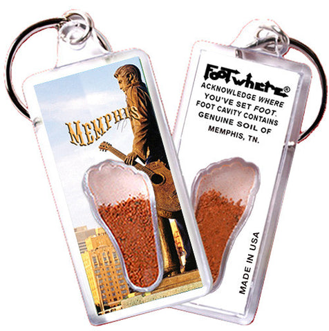 Memphis FootWhere® Souvenir Keychain. Made in USA - FootWhere® Souvenirs