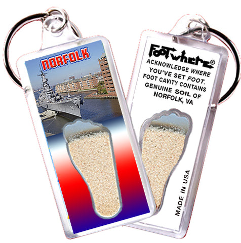 Norfolk FootWhere® Souvenir Keychain. Made in USA - FootWhere® Souvenirs