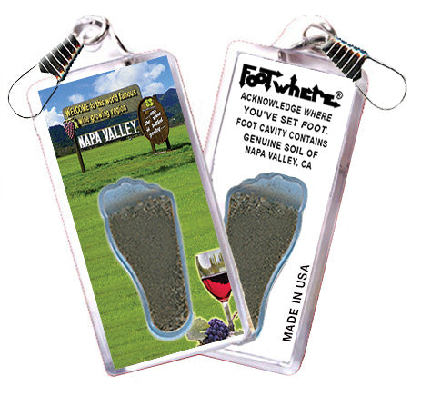 Napa Valley FootWhere® Souvenir Zipper-Pull. Made in USA - FootWhere® Souvenirs