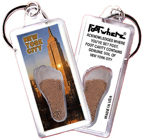 New York City FootWhere® Souvenir Keychain. Made in USA