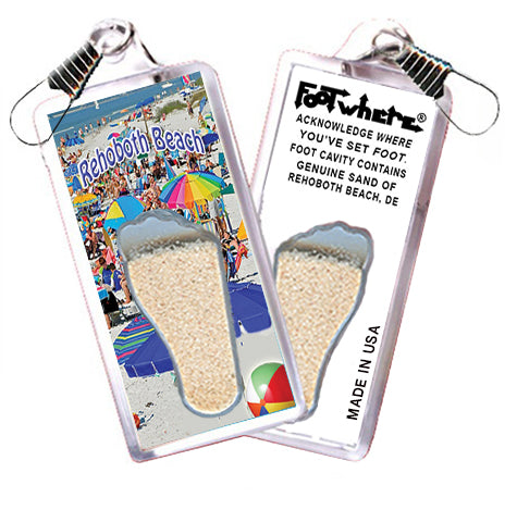 Rehoboth Beach, DE FootWhere® Souvenir Zipper-Pull. Made in USA - FootWhere® Souvenirs