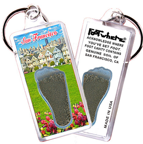 San Francisco FootWhere® Souvenir Key Chain. Made in USA - FootWhere® Souvenirs