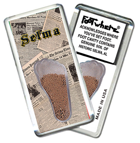 Selma, AL FootWhere® Souvenir Magnet. Made in USA - FootWhere® Souvenirs