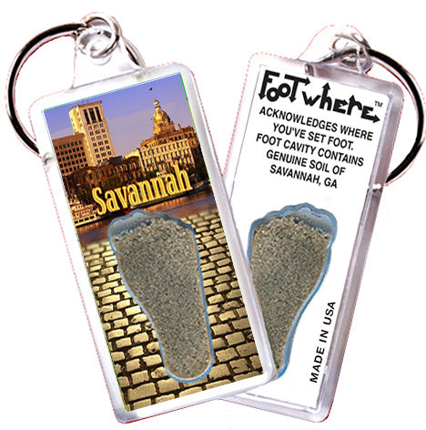 Savannah FootWhere® Souvenir Keychain. Made in USA