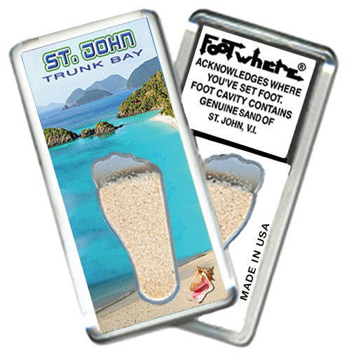 St. John, V. I. FootWhere® Souvenir Magnet. Made in USA - FootWhere® Souvenirs