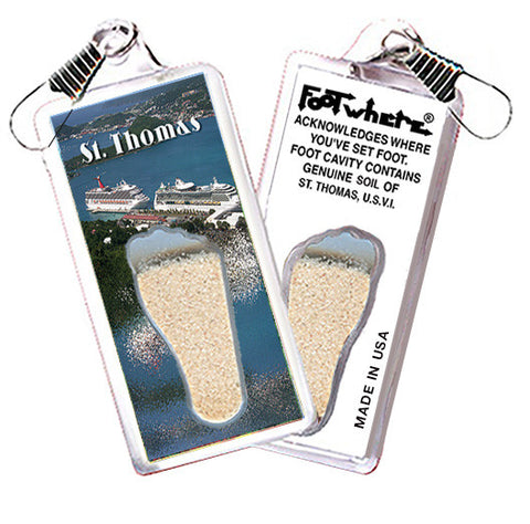 St. Thomas, V.I. FootWhere® Souvenir Zipper-Pull. Made in USA - FootWhere® Souvenirs