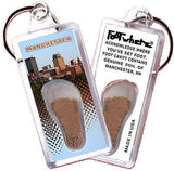 New Hampshire FootWhere® Souvenir Keychain. Made in USA