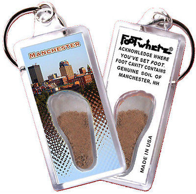 New Hampshire FootWhere® Souvenir Keychain. Made in USA - FootWhere® Souvenirs