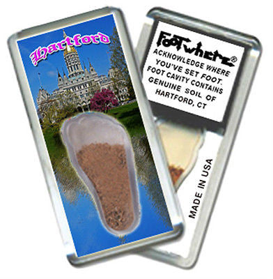 Hartford, CT FootWhere® Souvenir Fridge Magnet. Made in USA