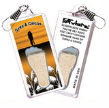 Turks & Caicos FootWhere® Souvenir Zipper-Pull. Made in USA