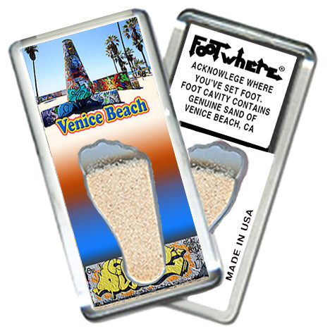 Venice Beach, CA FootWhere® Souvenir Fridge Magnet. Made in USA