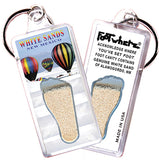 White Sands FootWhere® Souvenir Keychain. Made in USA