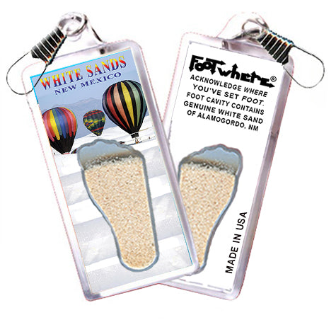 White Sands FootWhere® Souvenir Zipper-Pull. Made in USA