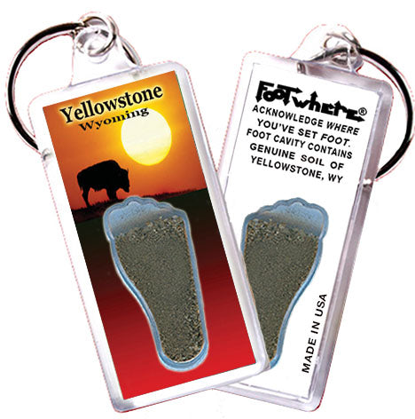 Yellowstone, WY FootWhere® Souvenir Keychain. Made in USA - FootWhere® Souvenirs