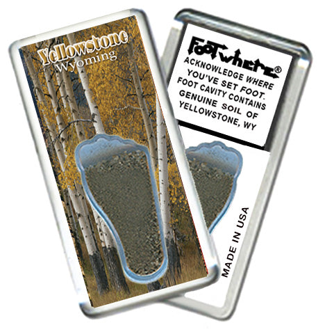 Yellowstone, WY FootWhere® Souvenir Magnet. Made in USA