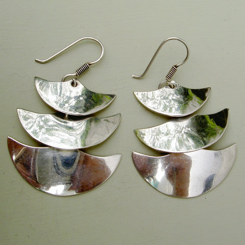 Sterling silver 2 inch long layered earrings from Taxco in Mexico.