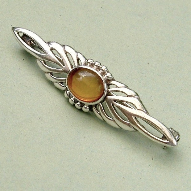 Art Deco style sterling silver & amber brooch