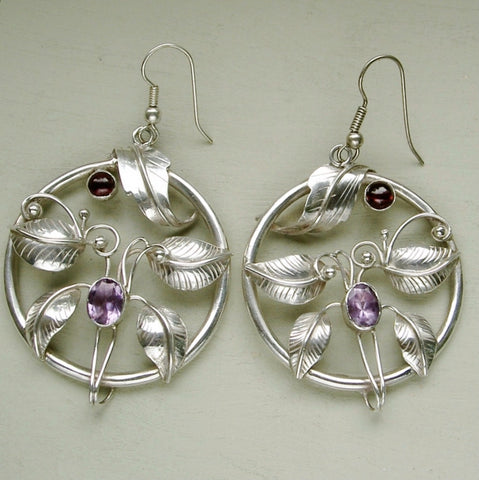Large Art Nouveau style sterling silver, amethyst & garnet drop earrings.