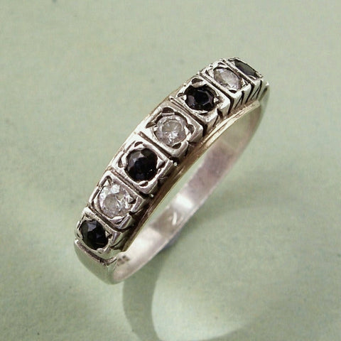 Large vintage 1980s sterling silver, cubic zirconia & sapphire ring.  Size Q / 8