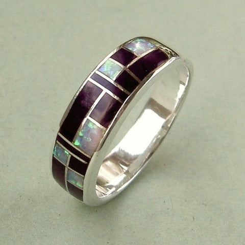 Extra large sterling silver, opal & purple enamel ring. Size X / 12.