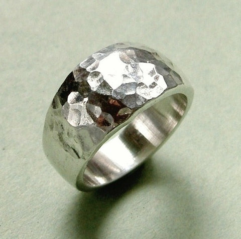 Medium sterling silver hammered ring by MPTS. Size: N / 7