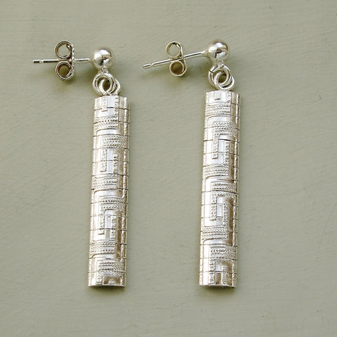 Silver Greek Key pattern narrow drop earrings