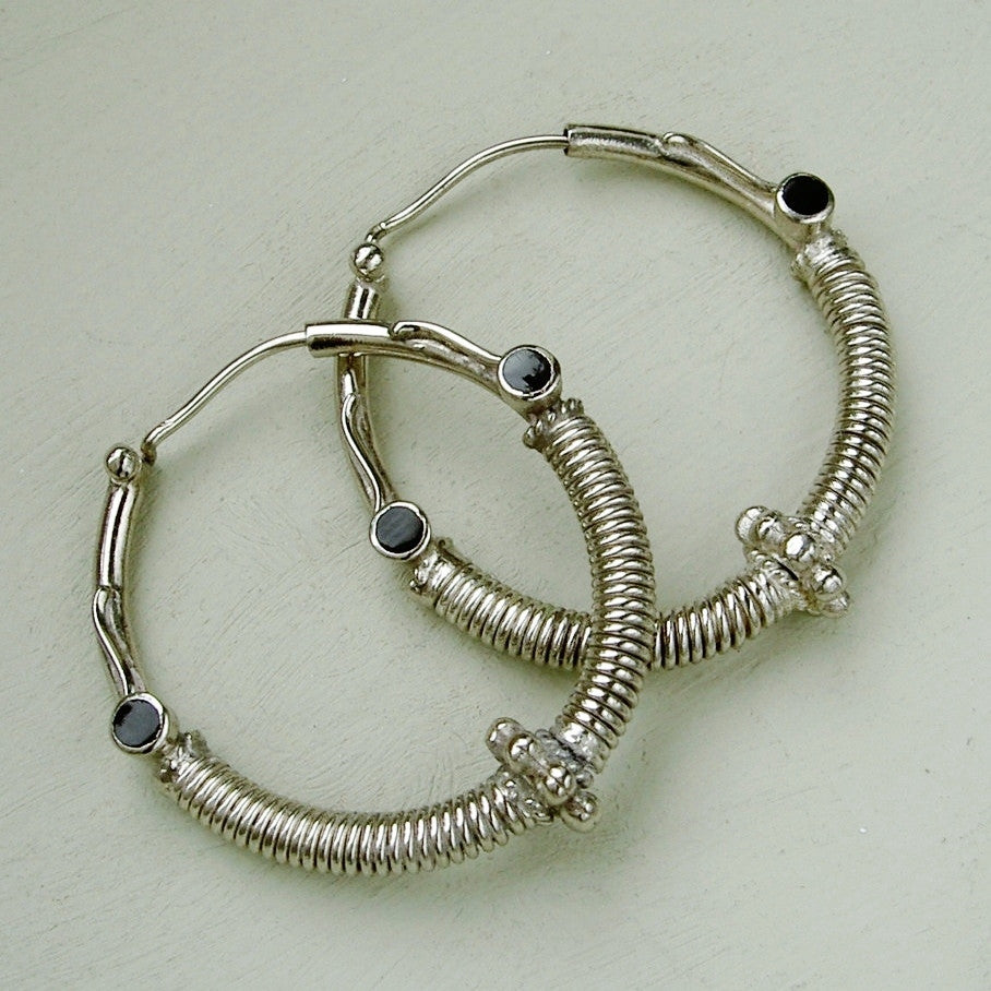 Medium silver & onyx Bali style hoop earrings, 3 cm. 1