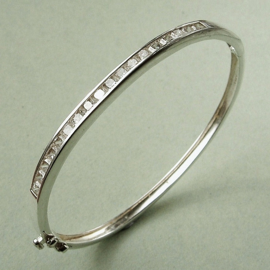 Slender sterling silver & cubic zirconia bangle