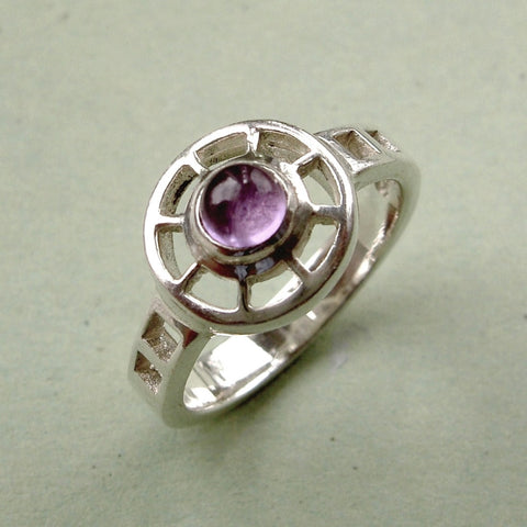 Small sterling silver & amethyst Rennie Mackintosh style ring.  Size K / 5