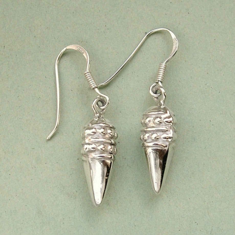 Small silver acorn drop earrings 1