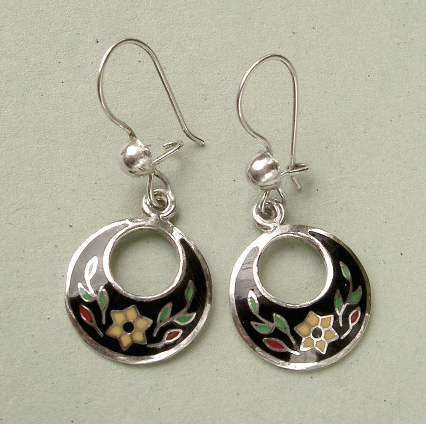 Sterling-silver-&-cloisonne-drop-earrings-Mexico 1