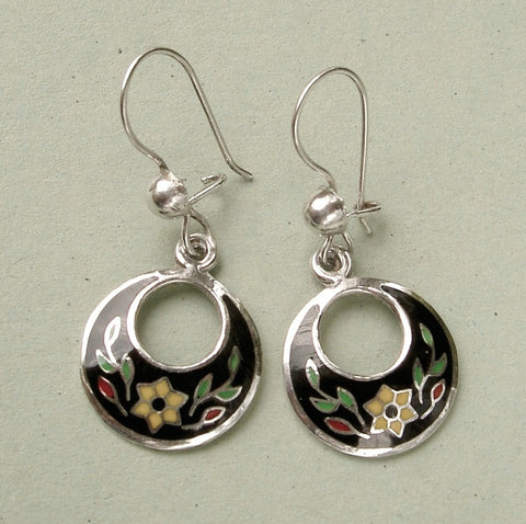 Pretty sterling silver & cloisonne drop earrings from Mexico