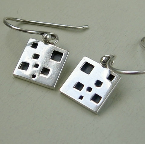 Sterling silver 1cm square abstract modernist earrings