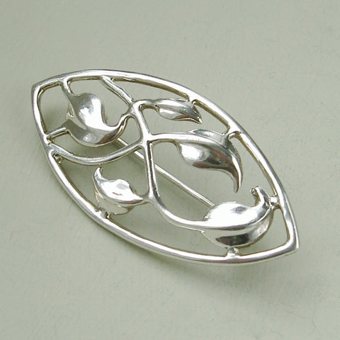 Sterling silver Art Nouveau style leaf pattern brooch