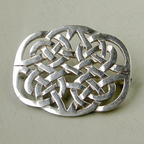 Complex sterling silver Celtic Knot brooch from Scotland