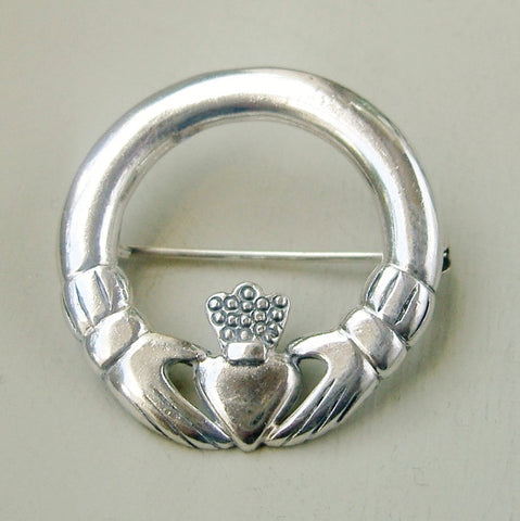 Sterling silver Claddagh brooch by Peter Stone Jewellery