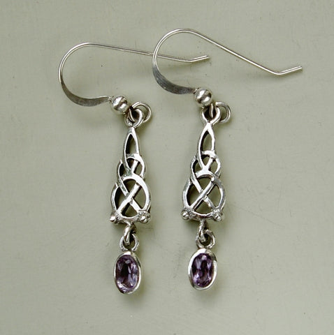 Sterling silver & amethyst Celtic style drop earrings