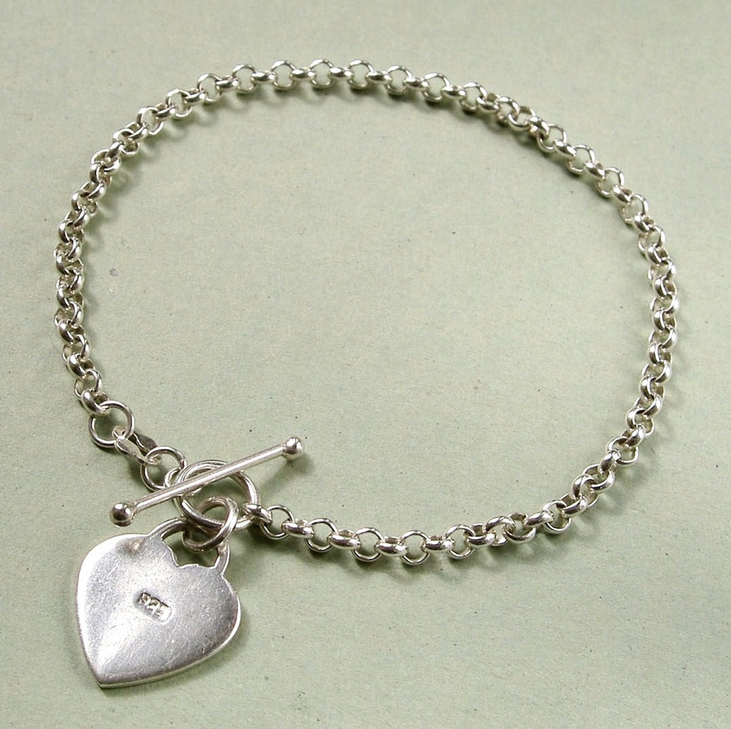 Sterling silver belcher chain bracelet with heart & T-bar