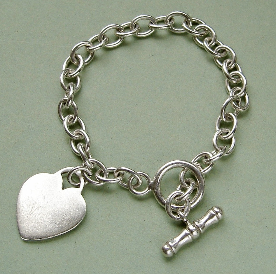9811ce70d Sterling silver belcher chain bracelet with heart & T-bar - The Old ...