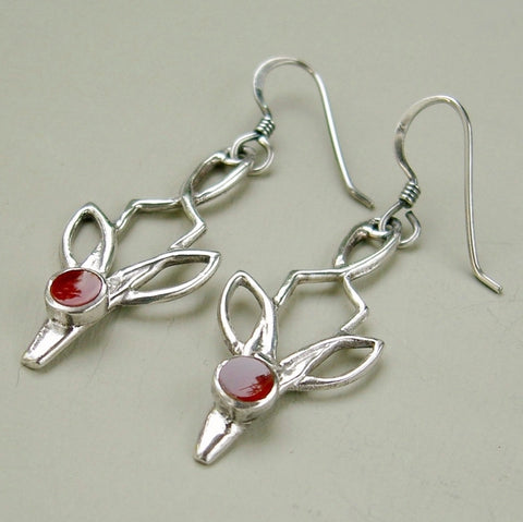 Delicate sterling silver & carnelian 2 inch long drop earrings.
