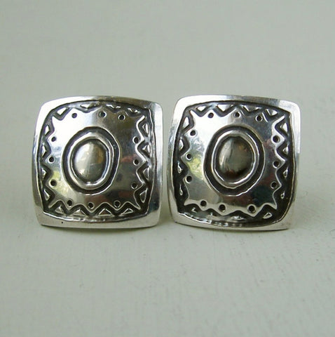 Hallmarked sterling silver square patterened stud earrings