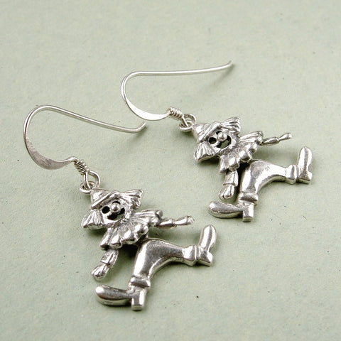 Vintage silver clown dangle earrings