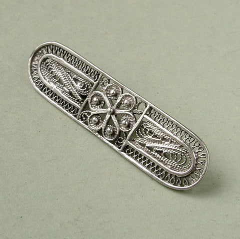 Vintage sterling silver filigree abstract brooch
