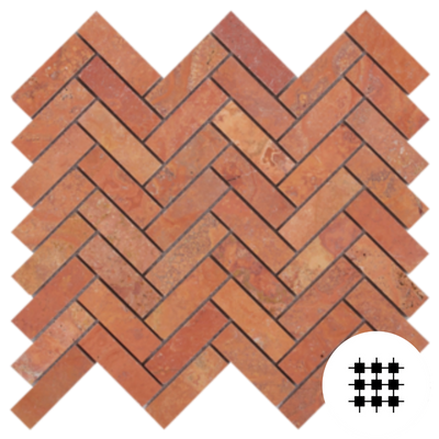 RED TRAVERTINE HONED HERRINGBONE