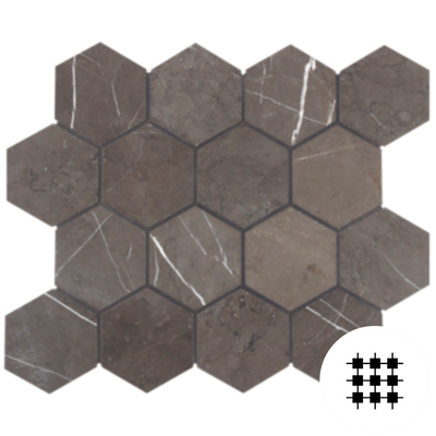 PIETRA GREY HONED HEX 70MM